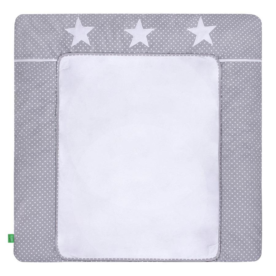 LULANDO Wickelauflage mit 2 Bezügen Pünktchen grau Sterne 76 x 76 cm