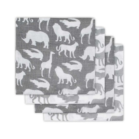 jollein Garza wind 4er-Pack 70x70cm  Safari Stone Grey