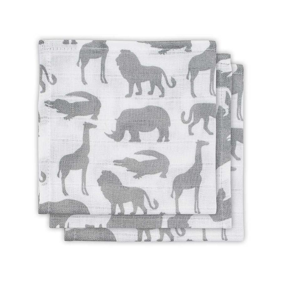jollein Panno per la bocca 3-pack  Safari Stone Grey