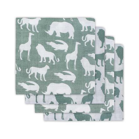 jollein Hydrofiele doeken (4pack) 70x70cm Safari Forest Green