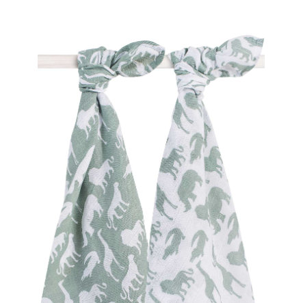 jollein Hydrofiele doeken (2pack) 115x115cm Safari Forest Green