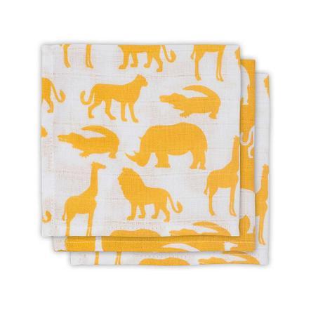 jollein Bawełniana chusteczka, 3 szt. Pack Safari Ocher