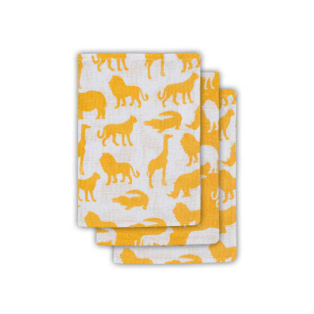Jollein Hydrofiel washandje Safari Ocher (3pack)