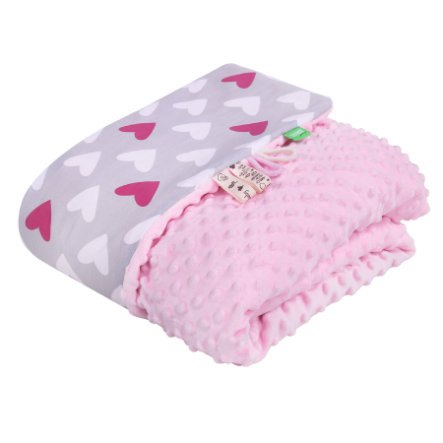 LULANDO Babydecke Minky Herzen rosa 80 x 100 cm