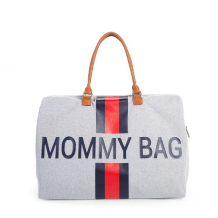 CHILDHOME Mommy Bag Groß Canvas Grey Stripes Red / Blue