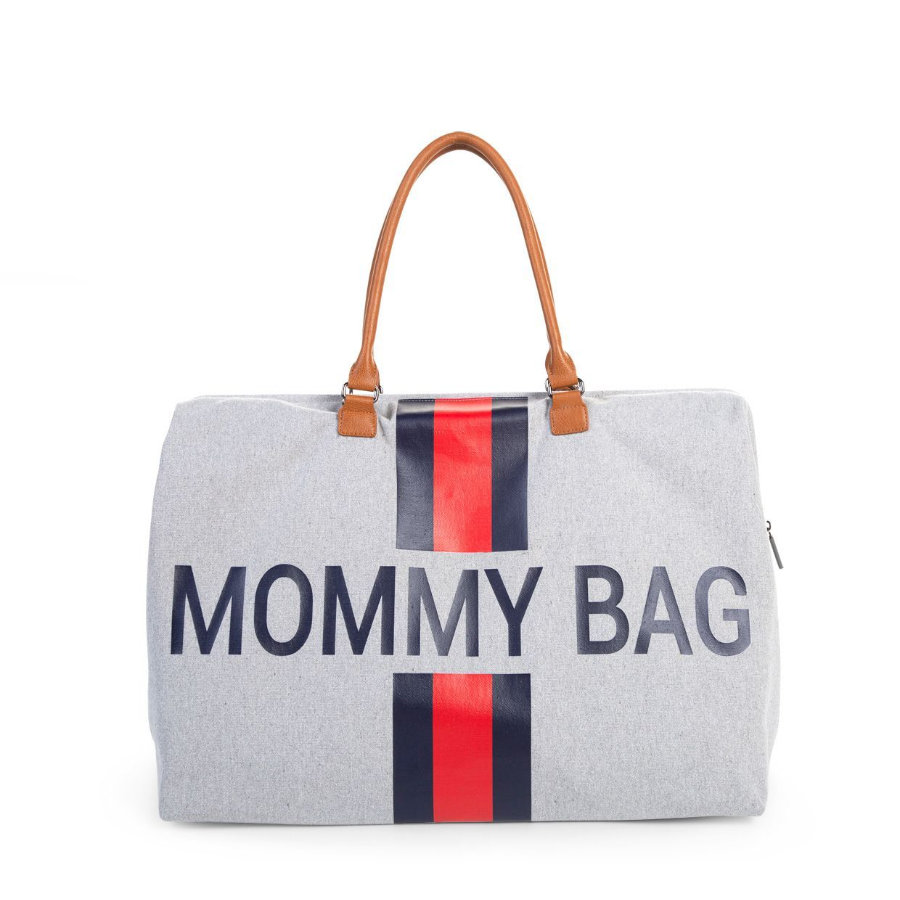 CHILDHOME Mommy Bag Groot Canvas Grey Stripes Red / Blue