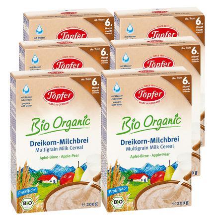 Töpfer Bio Milchbrei Dreikorn Apfel-Birne 6 x 200 g ab dem 6. Monat