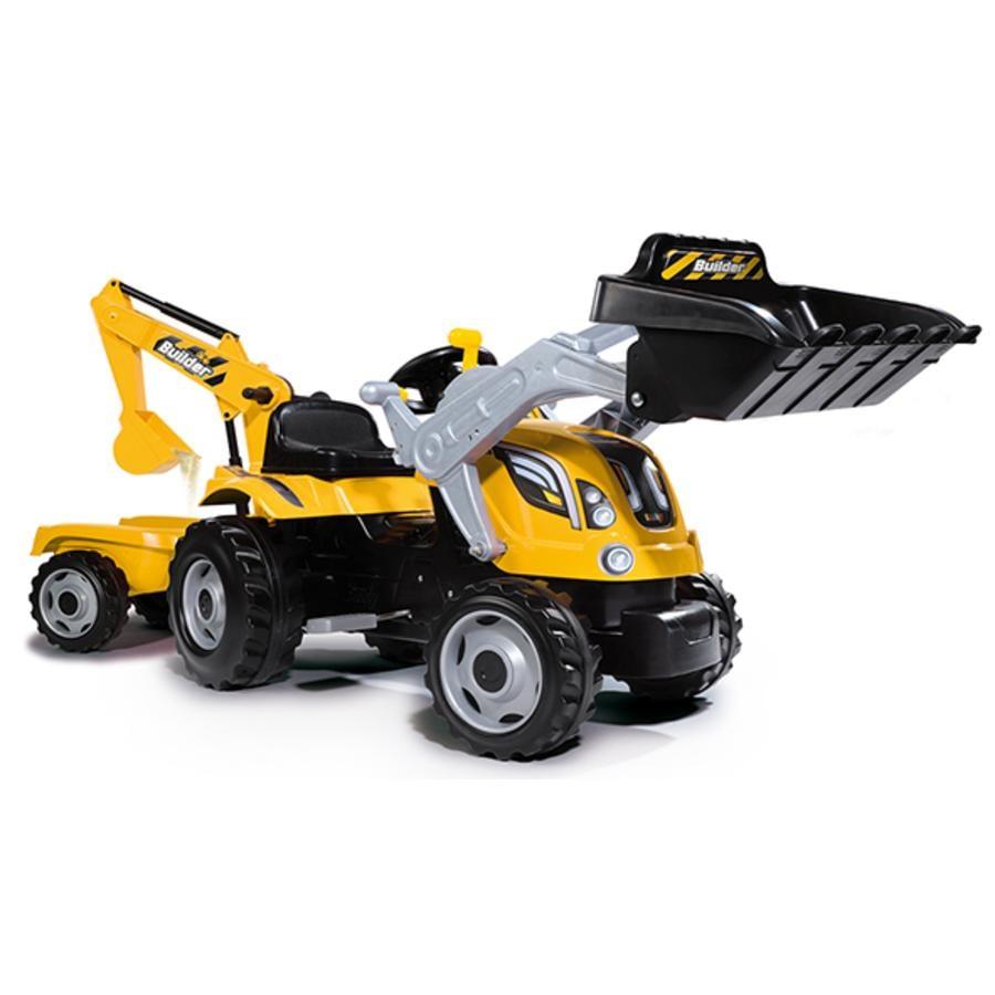 Smoby Traktor Builder Max met lepel, laadschop en aanhangwagen geel