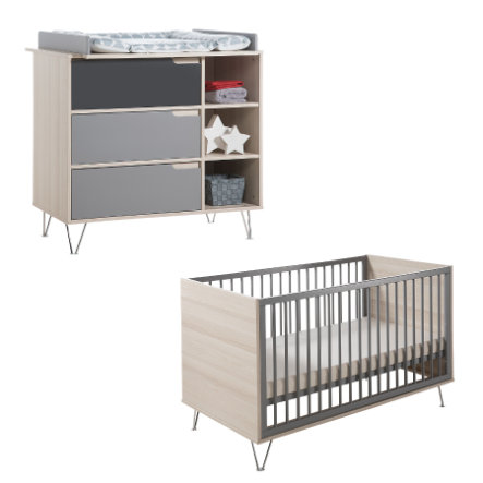 Geuther Set Bed en commode Marit antraciet