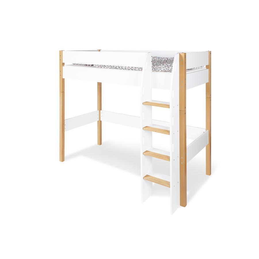 Pinolino Lit mezzanine enfant 90x200 cm blanc/naturel