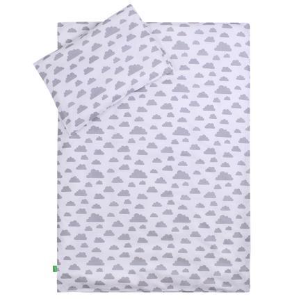 LULANDO Kinderbettwäsche Wölkchen weiß Pünktchen grau 100 x 135 cm