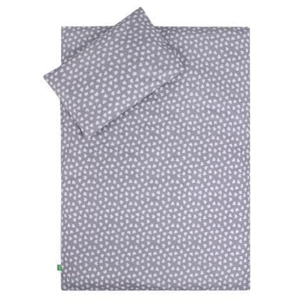 LULANDO Kinderbettwäsche Herzchen grau 100 x 135 cm