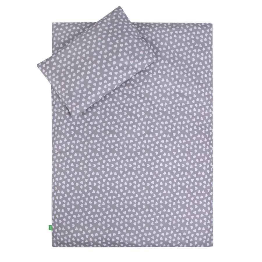 LULANDO dětské ložní prádlo srdíčka šedá 100 x 135 cm