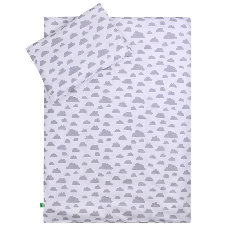 LULANDO Kinderbettwäsche Wölkchen weiß Pünktchen rosa 100 x 135 cm