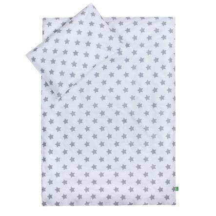LULANDO Kinderbettwäsche Sterne weiß 100 x 135 cm