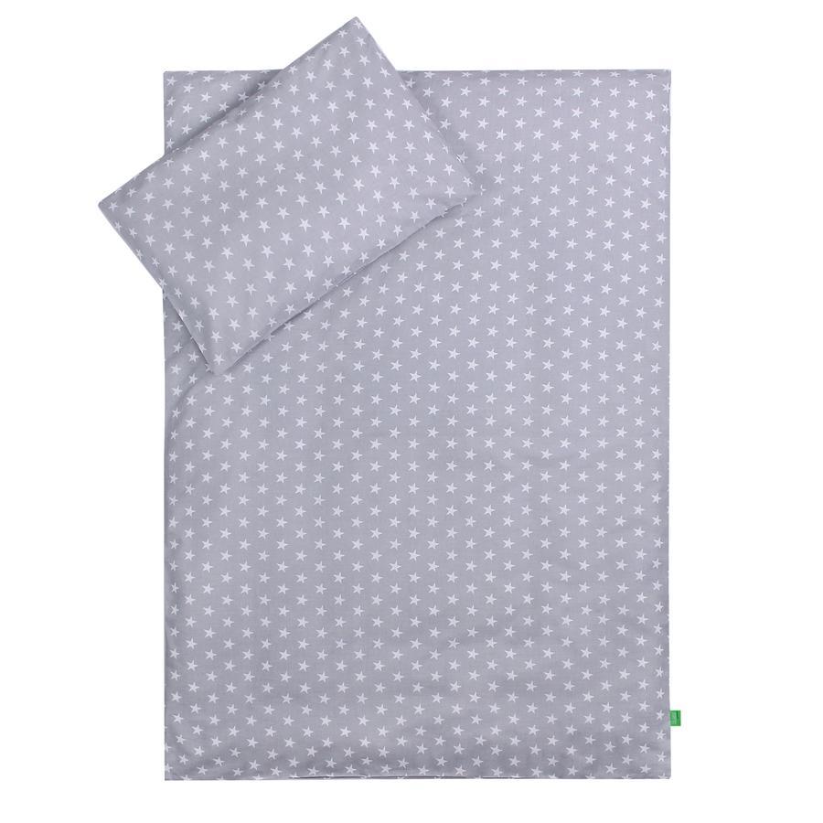 LULANDO Kinderbettwäsche Sternchen grau Wölkchen weiß 100 x 135 cm