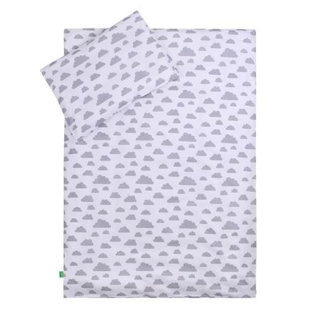 LULANDO Kinderbettwäsche Sternchen rosa Wölkchen weiß 100 x 135 cm