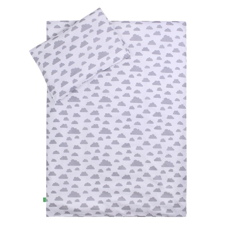 LULANDO børnesengetøj lyserøde stjerner/ hvide skyer 100 x 135 cm