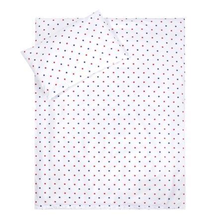 LULANDO dětské ložní prádlo, hvězdičky modrá, červená, bílá 100 x 135 cm