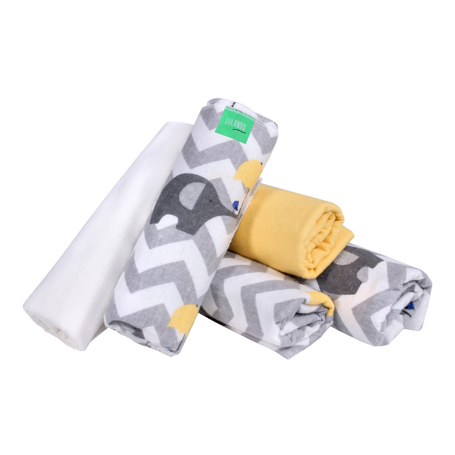 LULANDO Hydrofiele luiers 5 stuks olifanten geel/wit 70 x 80 cm