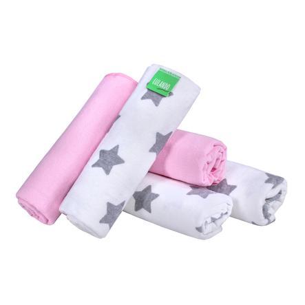 LULANDO Tejido wind eln 5 piezas estrellas blanco/rosa 70 x 80 cm