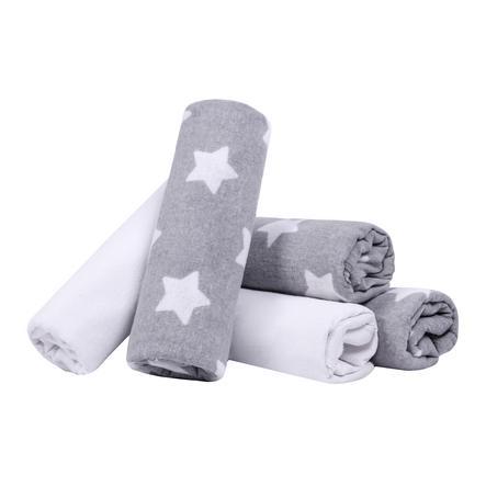 LULANDO Mussole stelle grigio/bianco 5 pezzi 70 x 80 cm