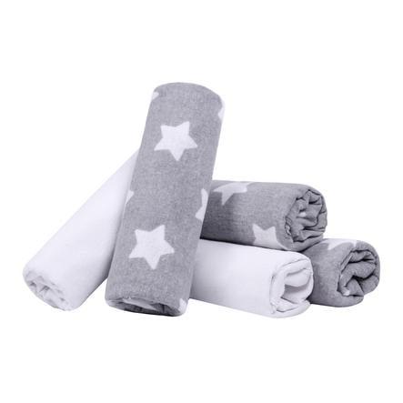 LULANDO Stoffwindeln 5 Stück Sterne grau/weiß 70 x 80 cm
