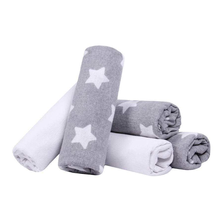 LULANDO Hydrofiele luiers 5 stuks sterren grijs/wit 70 x 80 cm