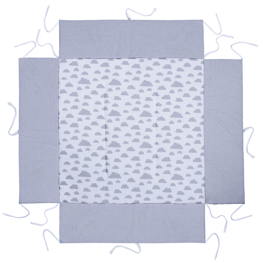 LULANDO Acolchado protector para parque infantil Nubes blancas Puntitos gris 100 x 100 cm