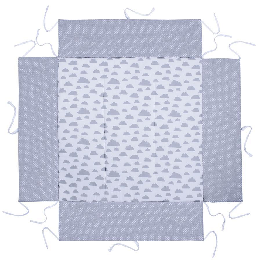 LULANDO Boxkleed wolken wit / stippen grijs 100 x 100 cm