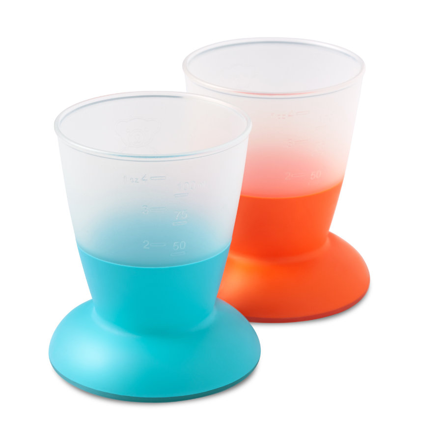 BABYBJÖRN Set de 2 vasos, naranja/turquesa