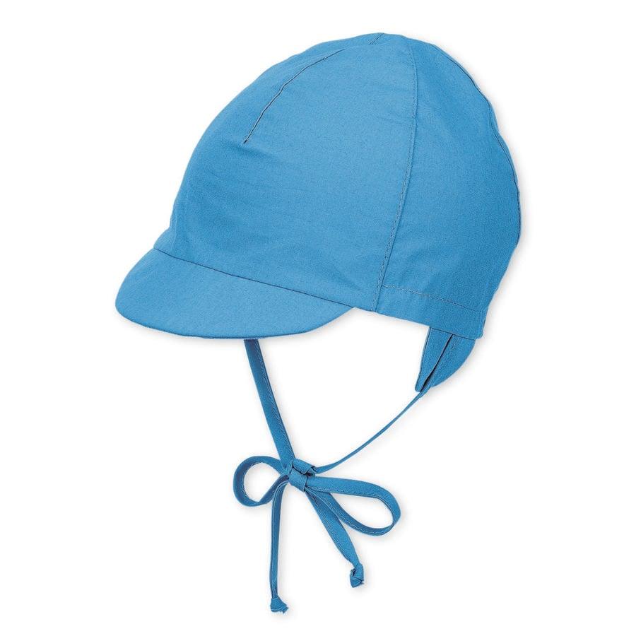 Sterntaler Bonnet pare-soleil en velours bleu avec bande de cravate