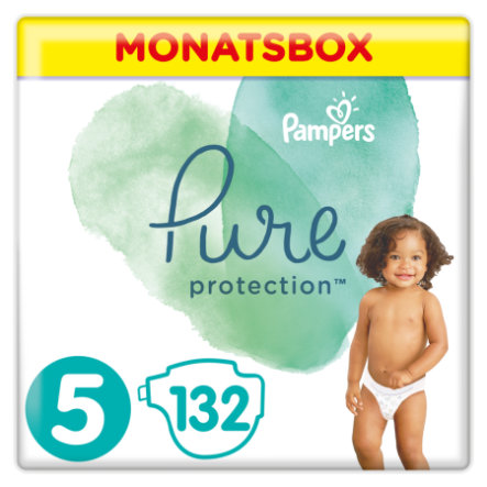 Pampers Pure Protection Windeln, Gr.5, 11+kg, Monatsbox (1 x 132 Windeln)