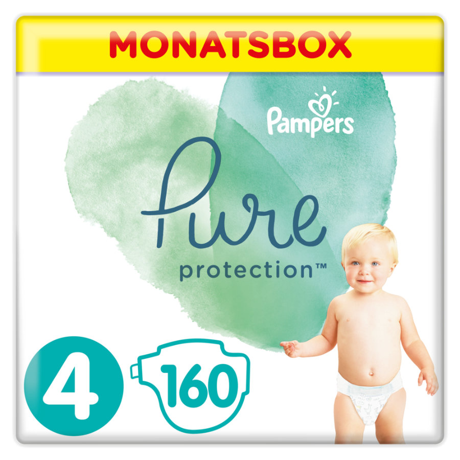 Pampers Pure Protection Windeln, Gr. 4, 9-14kg, Monatsbox (1 x 160 Windeln)
