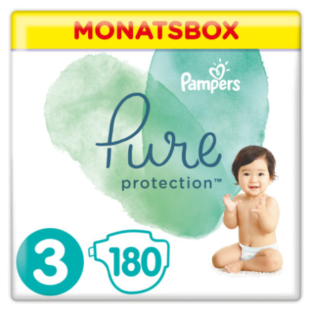 Pampers Pañales Pure Protection Tamaño 3 Mediano 180 Pañales 6 - 10 kg Caja medio mes