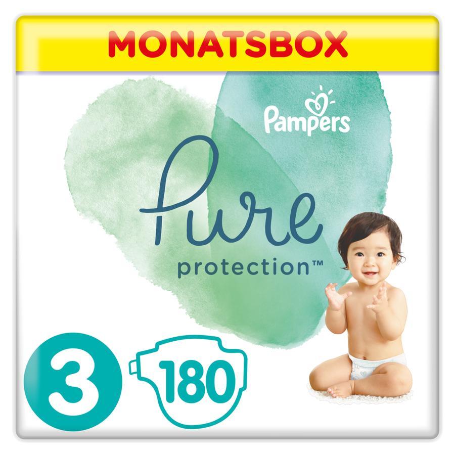 Pampers Pure Protection bleier Størrelse 3 Midi 180 bleier 6 til 10 kg månedspakke