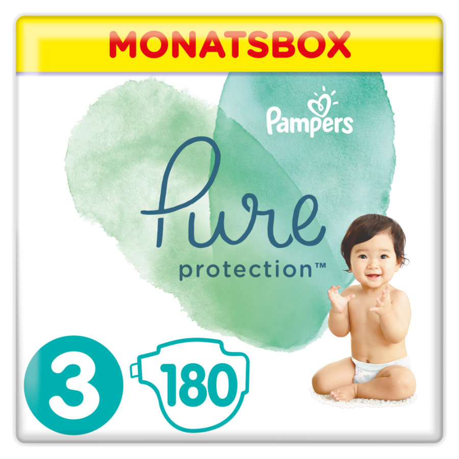 Pampers Pure Protection Gr. 3 Midi 180 Pannolini 6 - 10 kg Confezione per metà mese