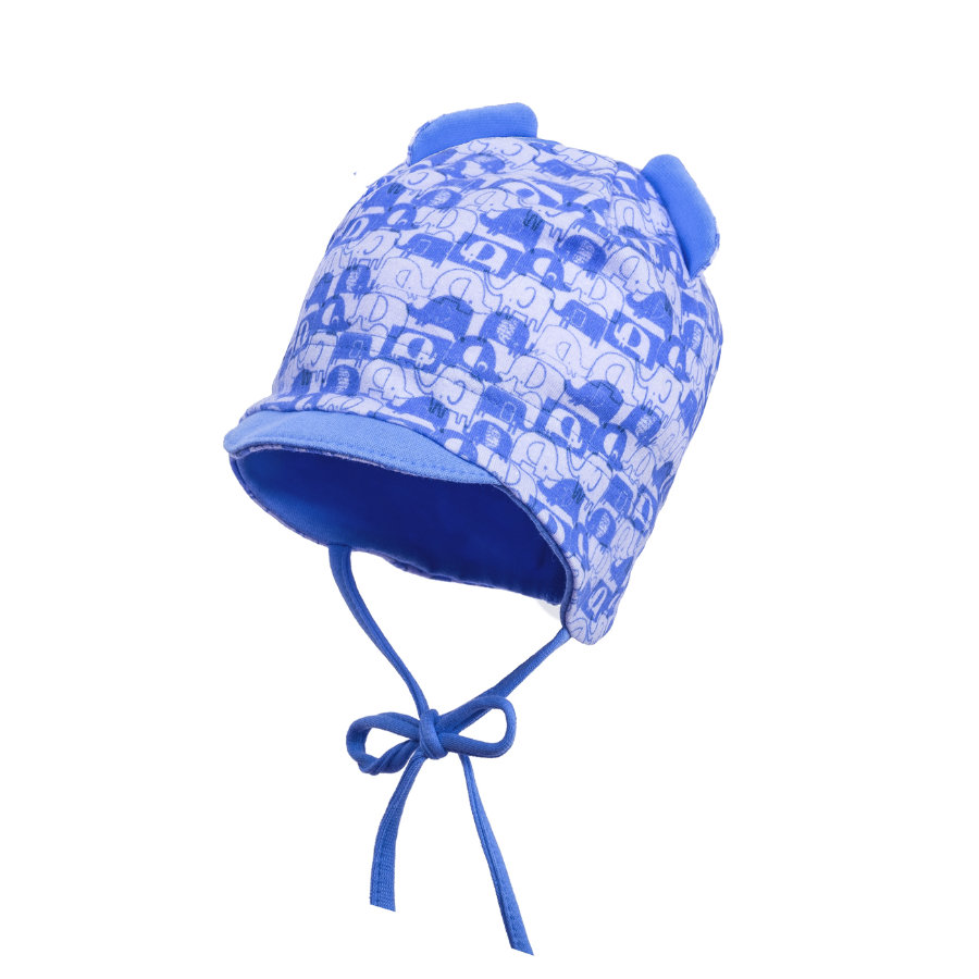 maximo Boys Mütze Elefanten blaues azur-silber