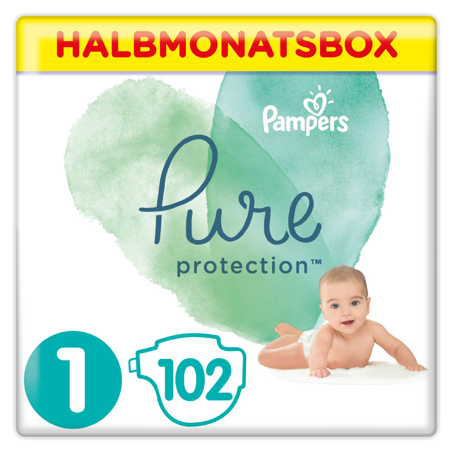 Pampers Pure Protection Windeln, Größe 1, 2-5 kg, Halbmonatsbox (1 x 102 Windeln)