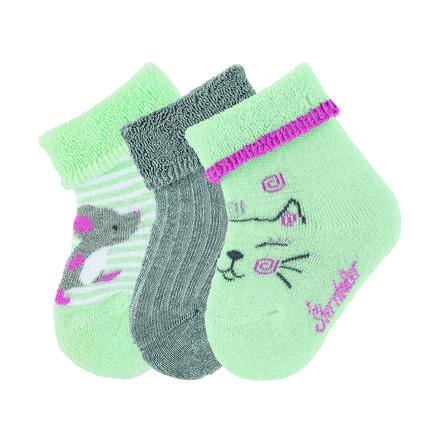Sterntaler Girls Baby-Söckchen 3er-Pack Katze mintgrün
