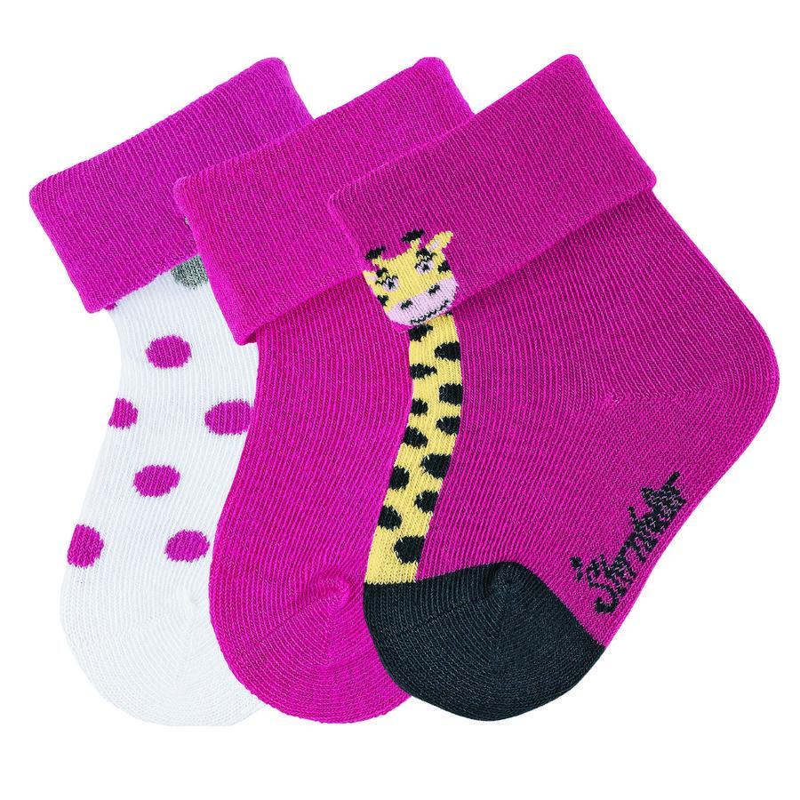 Sterntaler Girl s Skarpetki dla dzieci 3-pakowane żyrafy magenta