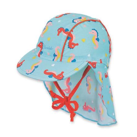 Sterntaler Bonnet pare-soleil avec protège-cou bleu marine