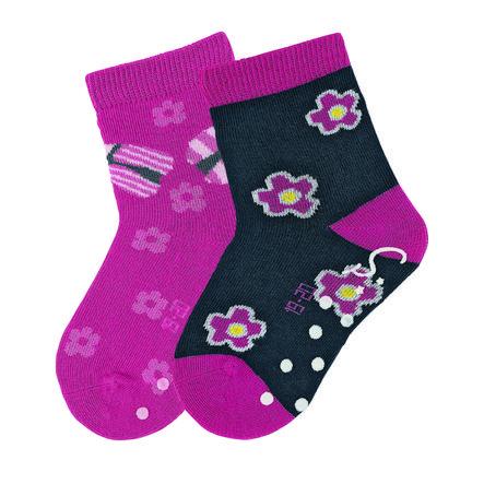 Sterntaler Girl s ABS sokken dubbele verpakking bloemen + lieveheersbeestjes magenta