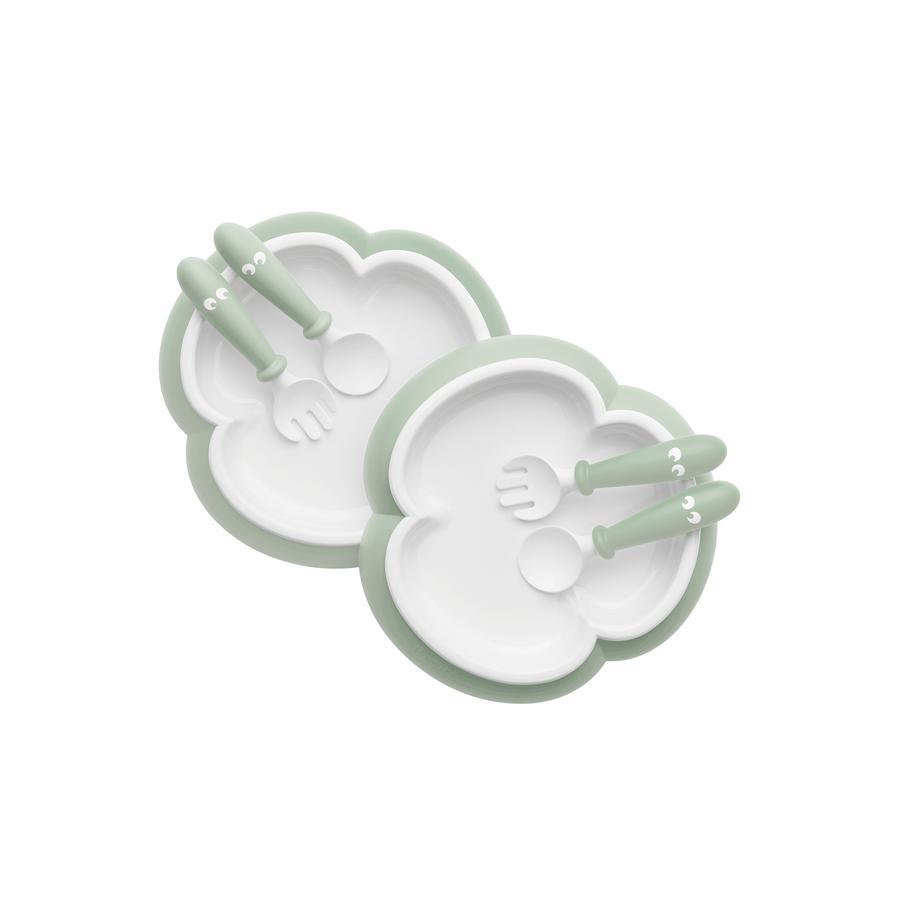 BABYBJÖRN Plato para niños, cuchara y tenedor para niños 2er - Set a partir del 6º mes pastel verde