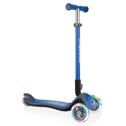 Globber Scooter Elite Deluxe mit Leuchtrollen, navy-blau