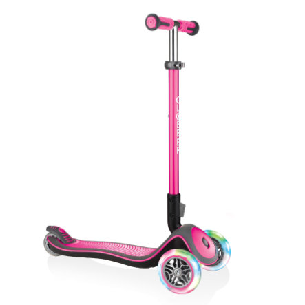 GLOBBER Scooter ELITE DELUXE LIGHTS deep pink, mit Leuchtrollen