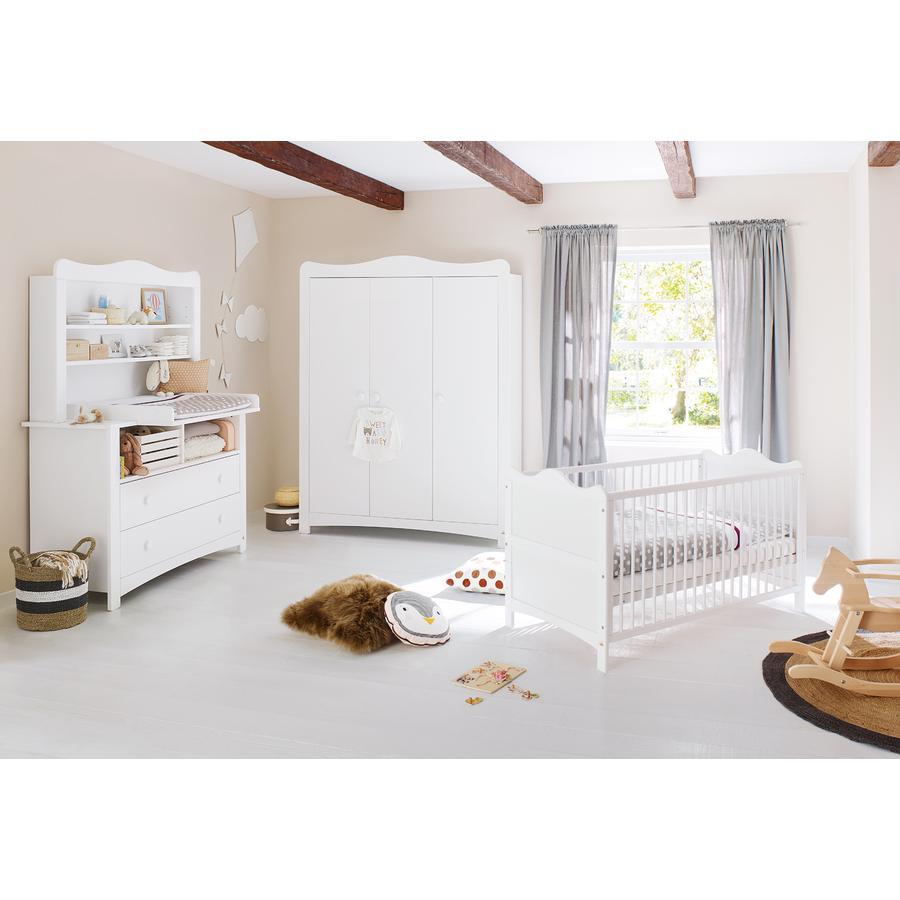 Pinolino Ensemble lit bébé commode à langer armoire 2 portes Florentina plan d'étagère