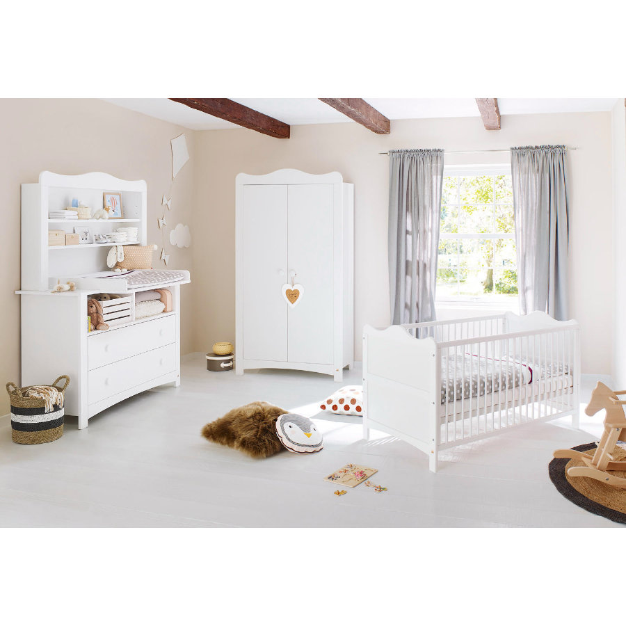 Pinolino Ensemble lit bébé commode à langer armoire Florentina plan d'étagère