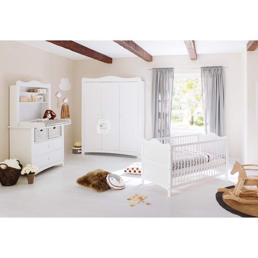 Pinolino Ensemble lit bébé commode à langer armoire 3 porte Florentina plan d'étagère