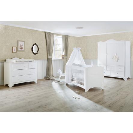 Pinolino Ensemble lit bébé commode à langer armoire 3 portes Pino blanc